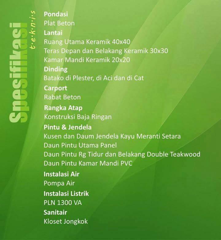 spesifikasi Rumah KPR Bogor Bantarsari Residence