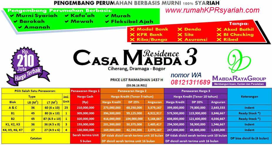 daftar harga perumahan kpr murah bogor casamabda 3