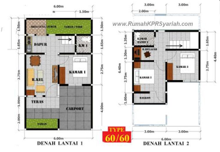 Denah ruang rumah syariah pemuda residence jakarta selatan
