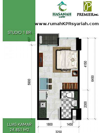 Hasanah Tower Type Studio 1 BR