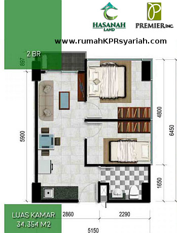 Hasanah Tower Type Studio 2 BR