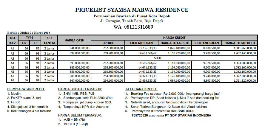 Price List Syamsa Marwa Tanahbaru Beji Depok