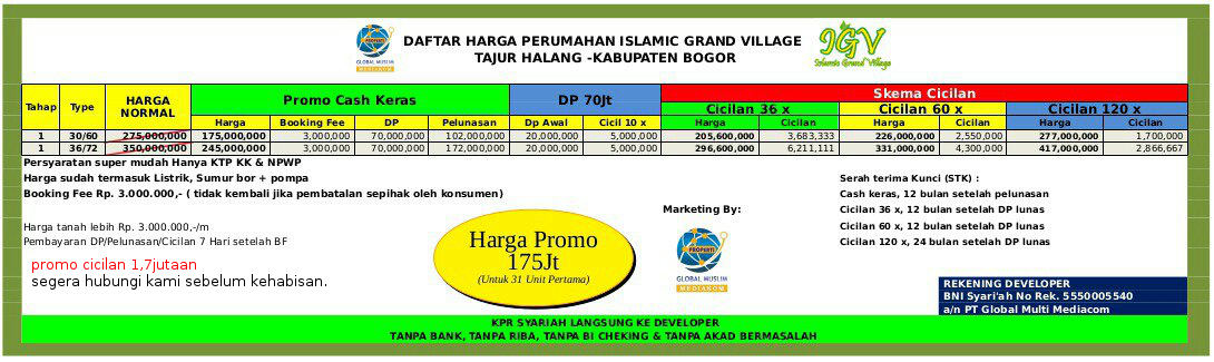 Price list islamic green village 2018
