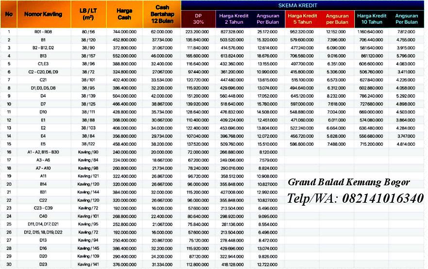 price list grand balad kemang bogor 20 persen