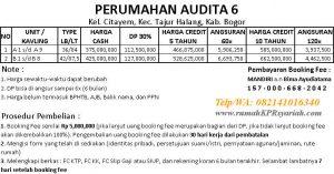 price list perumahan syariah citayam AUDITA 6